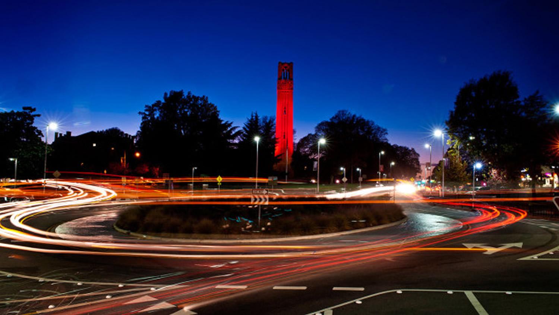 NC State Belltower Illuminated Red