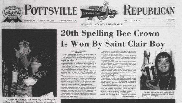 Newspaper with Spontak spelling bee photo